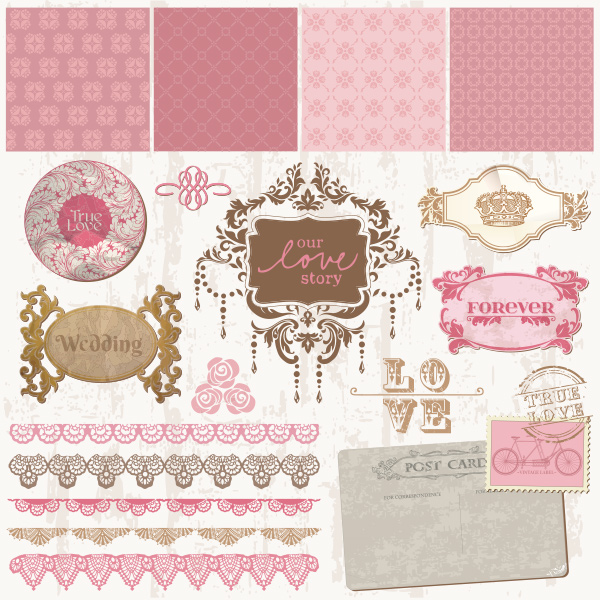 wedding vector stamps pink marriage love quotes set labels invitation free frames card banners background