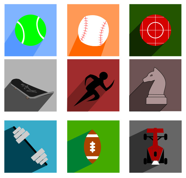 vector track tennis square sports skateboard racing metro icons icon free football flat darts chess baseball
