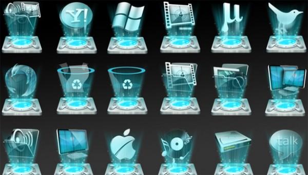 25 blue hologram icons