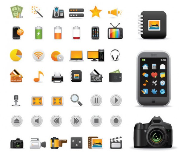 vector tv rainbow practical photo phones music money interesting inhouse icon pack house Free icons electronics CD camera beautiful