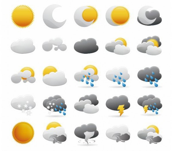 vector icons symbol sun summer storm snowflake snow sign set season rays Ray rain psd night nature moon Meteorology lightning icons icon free vectors Free icons free downloads EPS cdr AI