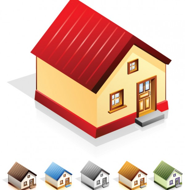 6 little house vector icon set welovesolo for Designer di case virtuali gratis