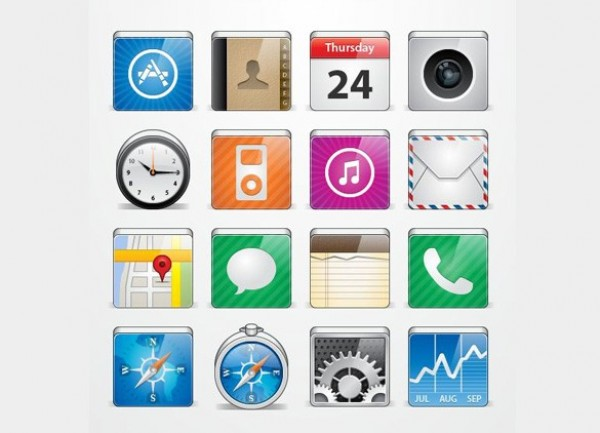 Large Apple iPhone iPad iOS Icon Set - WeLoveSoLo