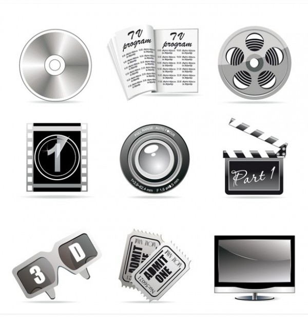 web vector unique ui elements tickets stylish quality original new movie interface illustrator icons high quality hi-res HD graphic fresh free download free film elements DVD download detailed design creative clapboard cinema camera lens big screen TV 3D glasses