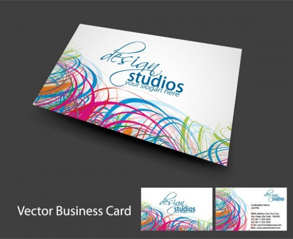 Cool lines abstract business card template welovesolo web vector unique template stylish quality original new lines illustrator high quality graphic front fresh free colorful lines abstract business card reheart Gallery