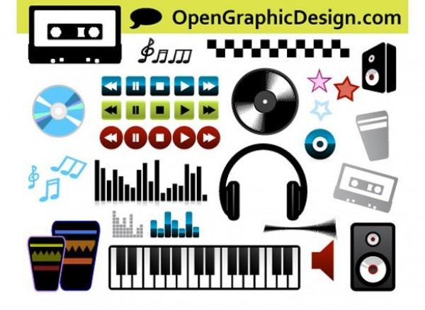 web vinyl record vector unique ui elements stylish speaker retro quality original new musical music player music keyboard interface instruments illustrator icons high quality hi-res headphones HD graphic fresh free download free elements download detailed design creative