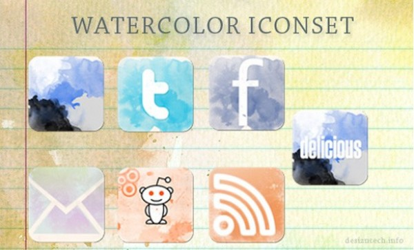 web watercolors unique ui elements ui stylish social icons social simple quality original new networking modern interface icons hi-res HD fresh free download free elements download detailed design creative clean bookmarking artistic