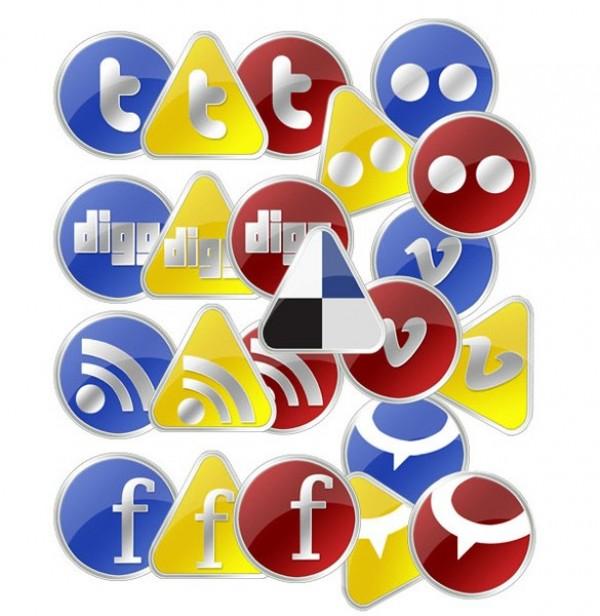 yellow web vista unique ui elements ui stylish social media icons social simple red quality original new networking modern interface icons hi-res HD glossy fresh free download free elements download detailed design creative clean bookmarking blue
