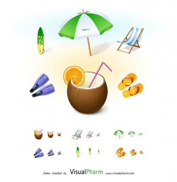 web vacation unique ui elements ui surf board summer stylish simple sandals quality png original new modern interface icons hi-res HD fresh free download free flippers elements download detailed design creative coconut drink clean beach umbrella beach chair beach
