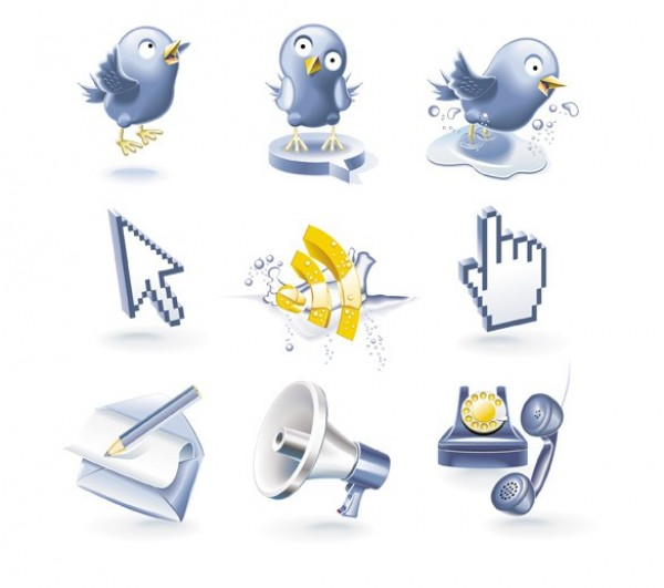 web vector unique ui elements twitter birds stylish social icon rss feed quality pointer phone original new mail interface illustrator icon high quality hi-res HD graphic fresh free download free elements download detailed design creative bull horn blue