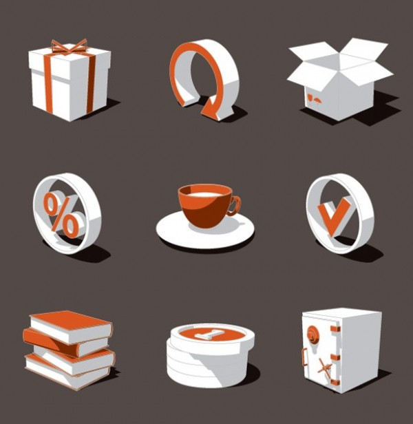 white web vector unique ui elements stylish sign set Safe quality percent sign original orange new interface illustrator icons high quality hi-res HD graphic gift fresh free download free elements download detailed design creative coffee cup box books arrow 3d