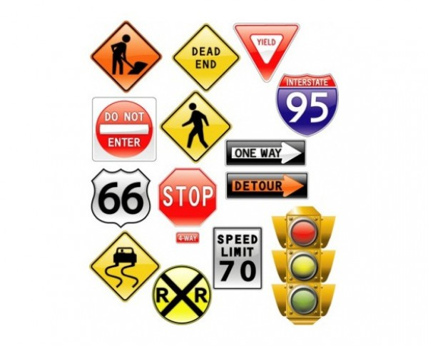 p16gajmpd2jkba8bcpaof9omv9 details 13 Glossy Road Signs Traffic Light Icons Set