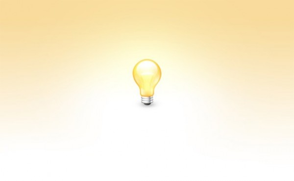 Yellow Light Bulb Icon Soft Yellow Glowing Light Bulb