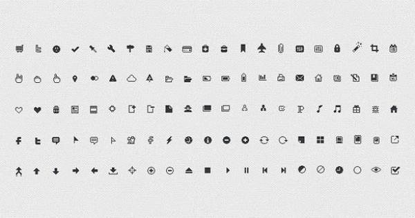 Pixel Web Icons Set Psd