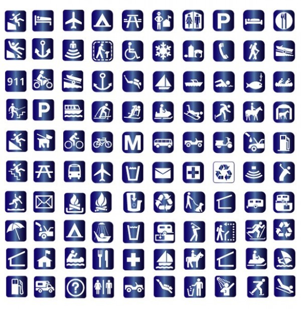100 Amazing Blue Travel Symbol Vector Icons Pack Welovesolo