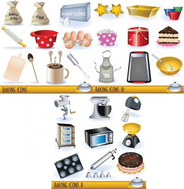 27 Baking And Cookware Vector Icons Set