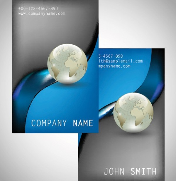 2 modern globe business card templates set welovesolo 2 modern globe business card templates set reheart Images