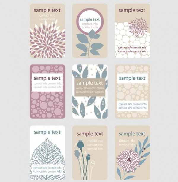 9 soft toned floral business card templates welovesolo web vintage vector unique ui elements template tan stylish soft set retro quality purple original new 9 soft floral business card accmission Choice Image