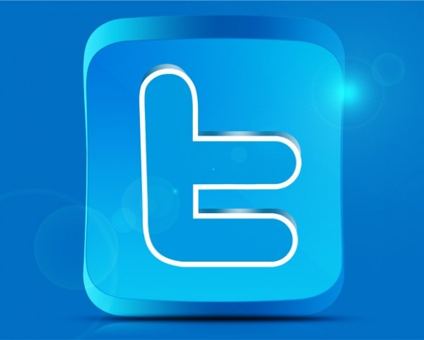 Blue Twitter Social 3D Box Icon PSD - WeLoveSoLo
