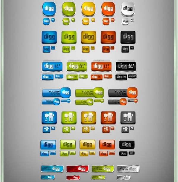 web unique ui elements ui stylish social set red quality psd png pack original orange new networking modern media interface icons hi-res HD grey green fresh free download free elements download digg icons set digg icons DIGG detailed design creative clean blue 3d
