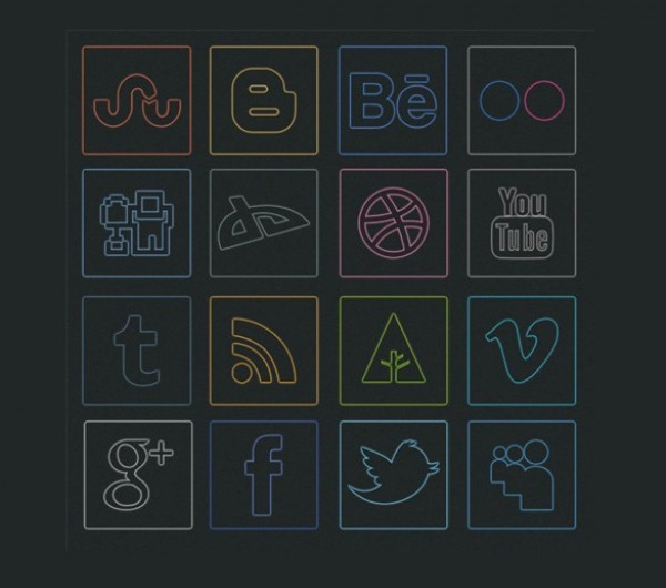 web unique ui elements ui stylish square social icons set social icons set quality png pack original new networking neon modern media interface icons hi-res HD glow fresh free download free elements download detailed design creative clean bookmarking