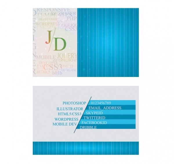 Glow Blue Business Card Template Set PSD - WeLoveSoLo
