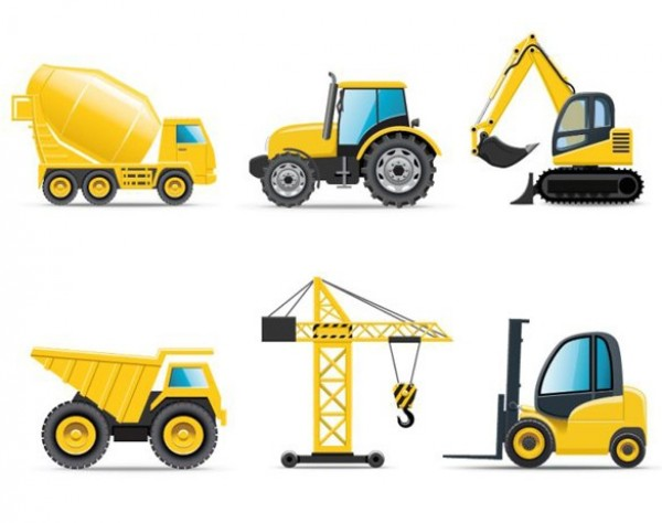 yellow web vehicle vector unique ui elements tractor stylish quality original new interface illustrator icons high quality hi-res HD graphic fresh free download free fork lift EPS elements dump truck download detailed design creative crane construction vehicle construction icons set construction cement truck back hoe