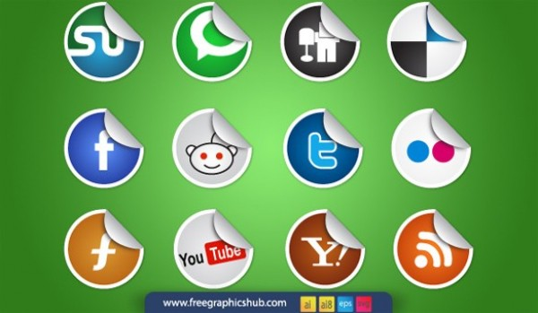 web vector unique ui elements SVG stylish sticker social icons set social set round quality original new networking media interface illustrator icons high quality hi-res HD graphic fresh free download free EPS elements download detailed design curled sticker curled creative colorful bookmarking AI