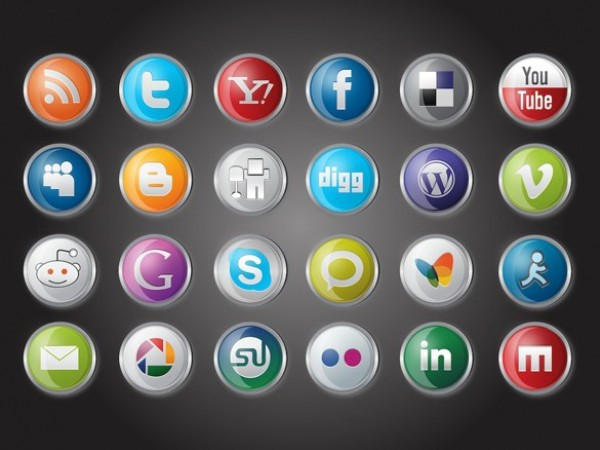 web vector unique ui elements stylish social media social icons set social shiny round quality pack original new networking metal interface illustrator high quality hi-res HD graphic glossy glass fresh free download free elements download detailed design creative bookmarking AI
