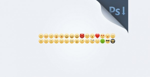30 Small Smiley Emoticons Set PSD - WeLoveSoLo