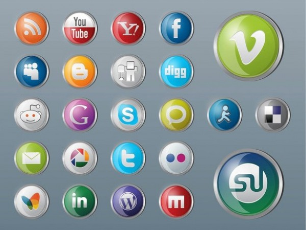 web vector unique ui elements stylish social icons set social set round quality PDF pack original new networking metal media interface illustrator icons high quality hi-res HD graphic glossy glassy fresh free download free elements download detailed design creative bookmarking AI