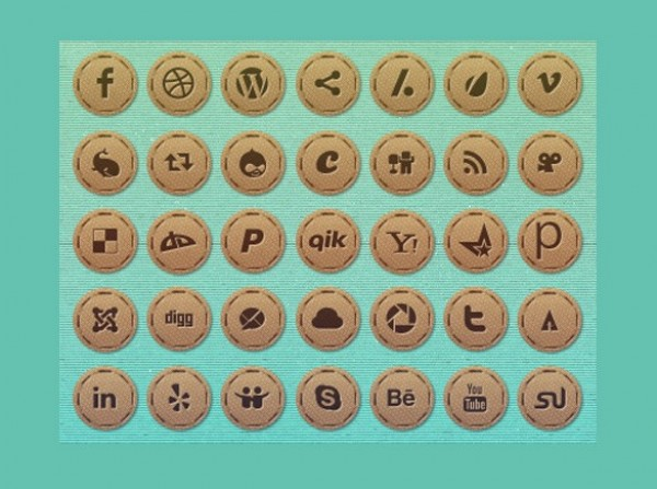 web vintage unique ui elements ui stylish stitched states social icons set social badges set social badges social round quality png pack original normal new networking modern interface impressed hover hi-res HD fresh free download free elements download detailed design creative clean brown bookmarking active 64px