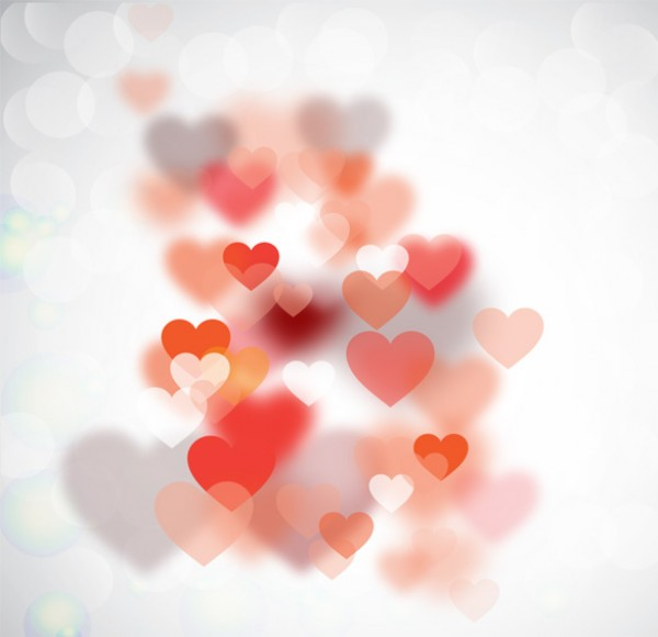 Transparent floating hearts vector background.