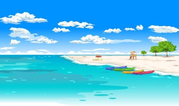 Perfect Tropical Beach Vector Scene - WeLoveSoLo