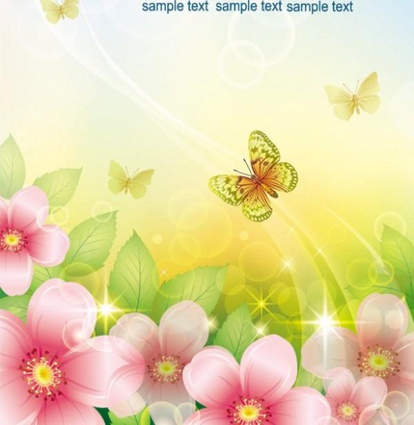Spring Butterfly Flower Garden Vector Background