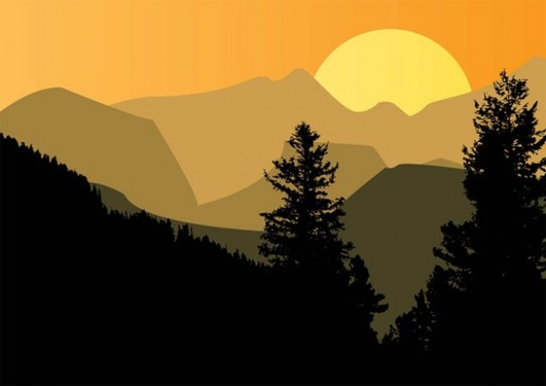 Mountain Silhouette Trees Vector Background - WeLoveSoLo