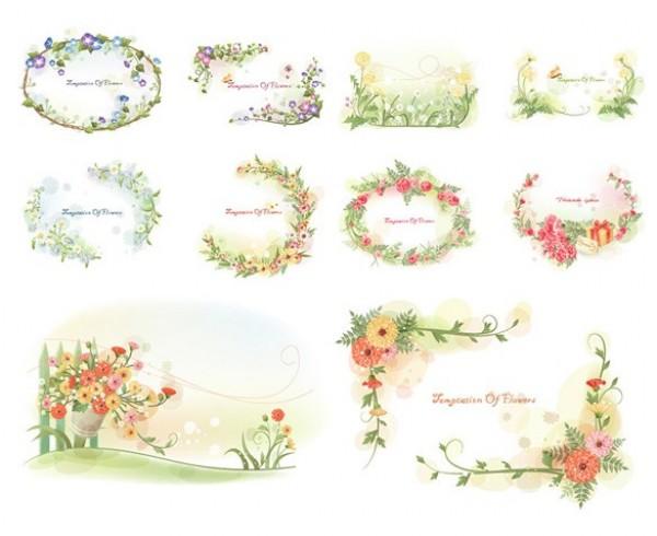 10 Flower Garden Wreath Frame Vector Backgrounds - WeLoveSoLo
