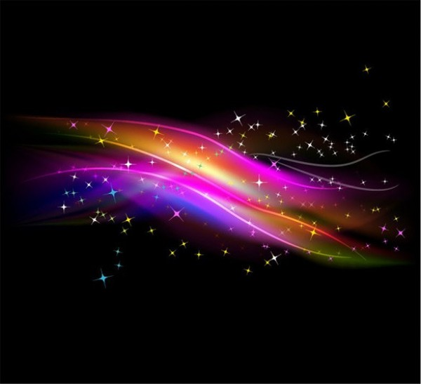 Starry Neon Sky Abstract Vector Background
