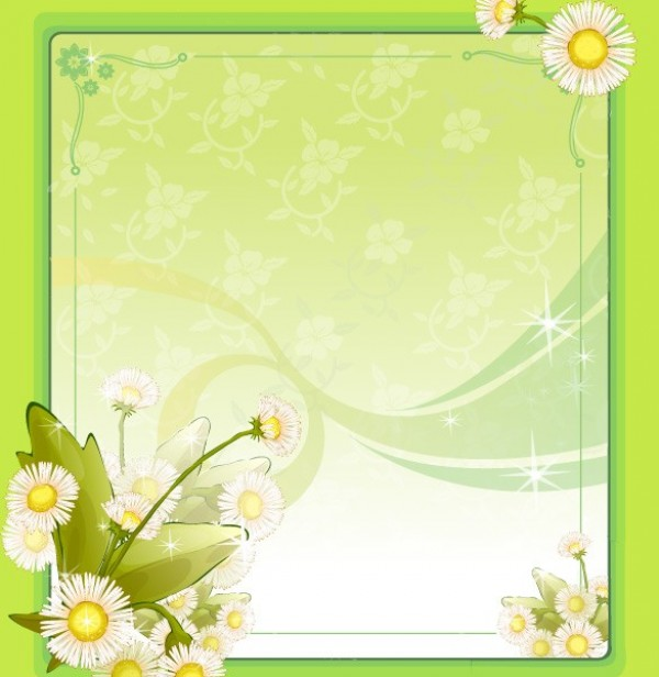 Lovely Green Floral Vector Frame Background - WeLoveSoLo