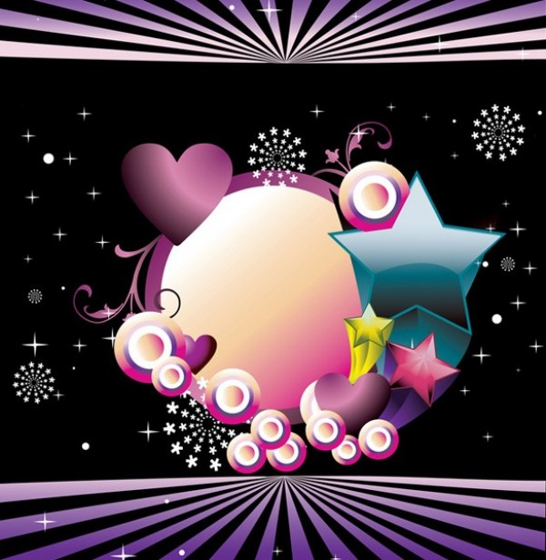 colorful stars hearts abstract vector background welovesolo