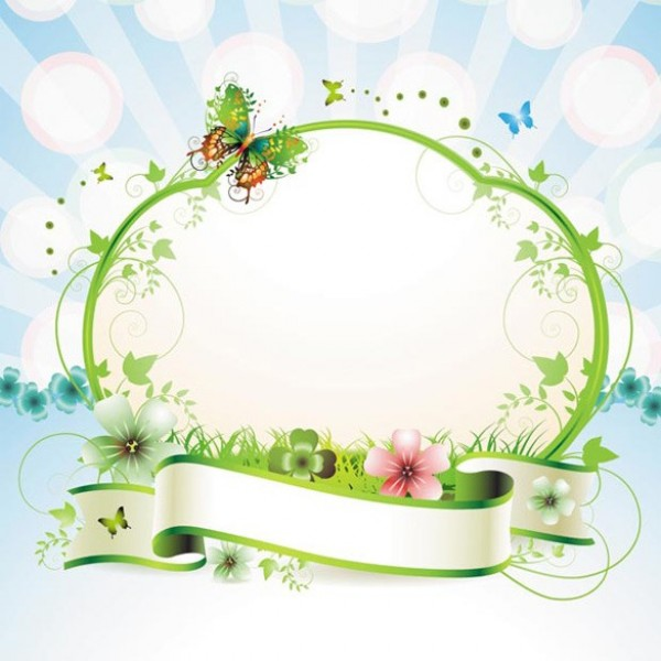 Spring Flower With Green Background Vector 02 Free Download: Glorious Spring Butterfly Frame Vector Background