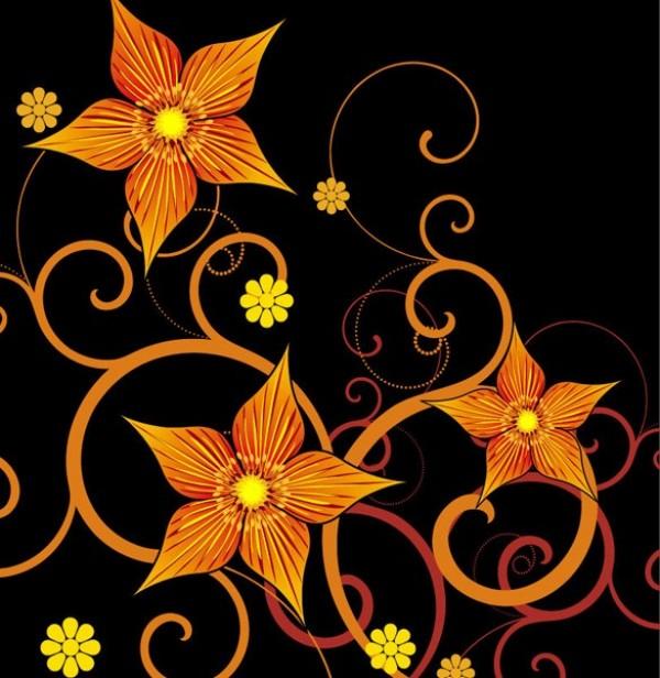 Bold Orange Floral Art On Black Vector Background