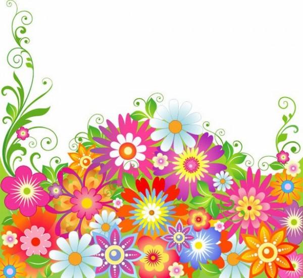 Colorful Spring Garden Floral Vector Background