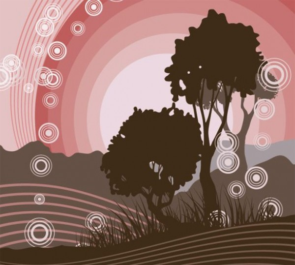 web vector unique trees sunset stylish simplistic silhouette quality pink original illustrator high quality graphic fresh free download free EPS download design creative circular circles brown background art abstract