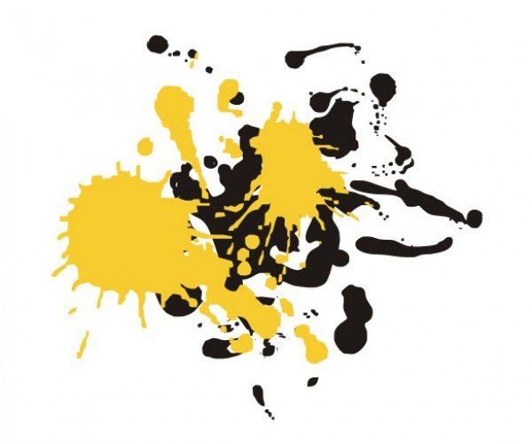 Black And Yellow Paint Splatter Yellow And Black Paint/ink