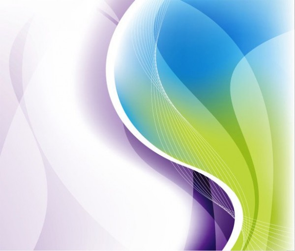 Green To Purple Waves Abstract Vector Background