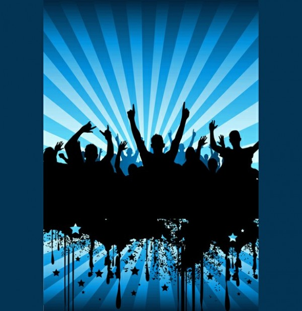 Cheering Party Crowd Silhouette Vector Background