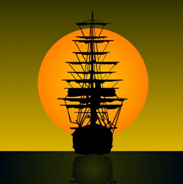 web vector unique sunset stylish silhouette sailing vessel sailing ship sailboat rigging quality original old ship mast illustrator high quality graphic fresh free download free EPS download design creative cdr ancient sailing ship AI