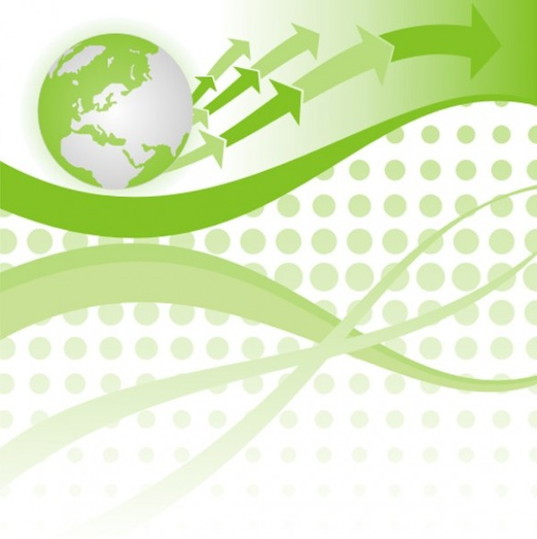 Green Globe Arrows Abstract Vector Background - WeLoveSoLo