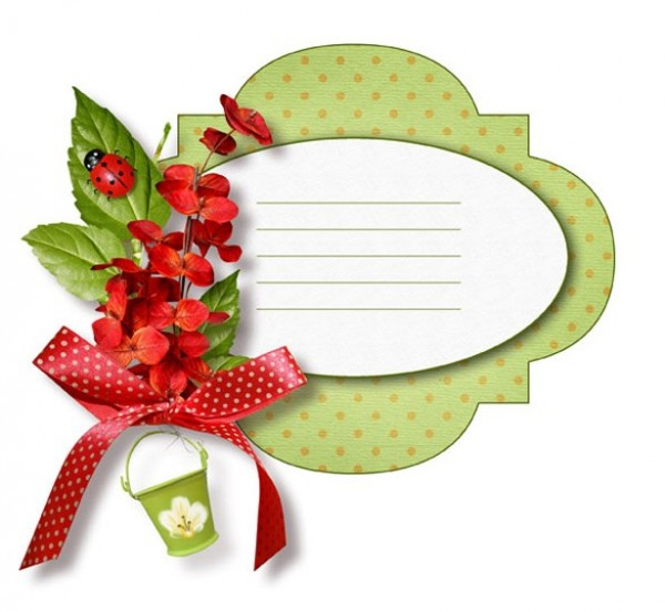 Floral Ladybug Message Card Template PSD - WeLoveSoLo